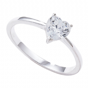 Sterling silver cubic zirconia heart solitaire ring
